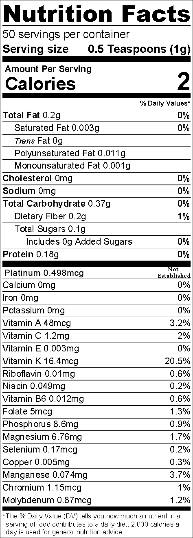 Platinum Nutritional Label